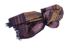 Hand Embroidered Narrow Scarf - Purple and Gold on Black
