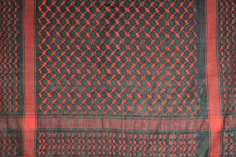 Red and Black Jacquard Weave Tablecloth