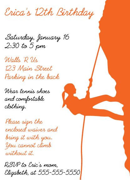 Rock Climb Birthday Invitation