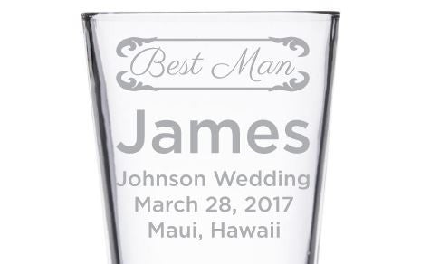 Beer Pint Glass - Elegant Wedding Party