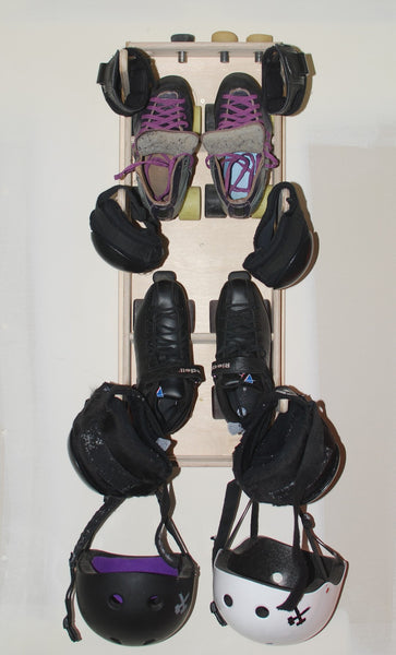 Roller Derby Gear Rack in use