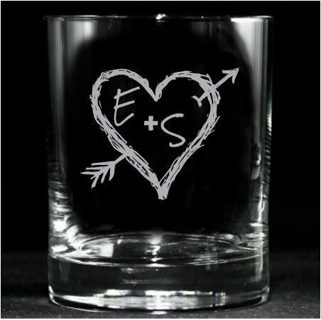 Whiskey Glasses, Engraved Initials