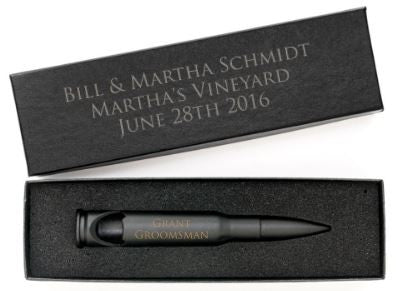 Groomsmen Set of Matte Black Engraved .50 Caliber Bottle Openers with Personalized Gift Boxes