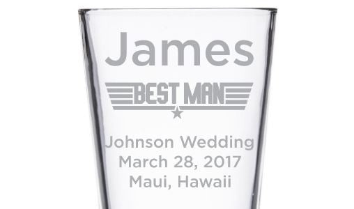 Beer Pint Glass - Military Wedding Party