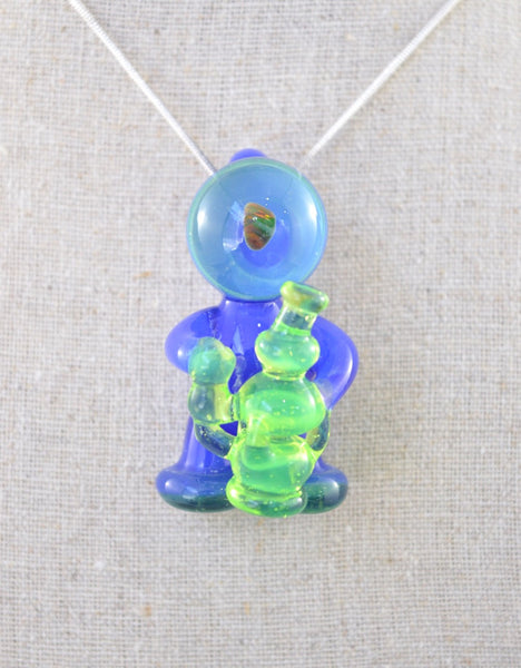 Blue and Green Glasstronaut Pendant