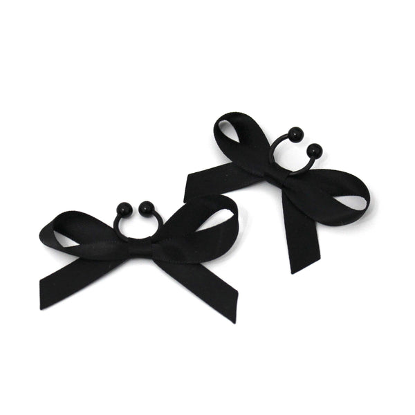 XO Black Bow Nipple Clamps
