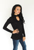 Elliot Keyhole Top - Black - J&J Petite Boutique - 2