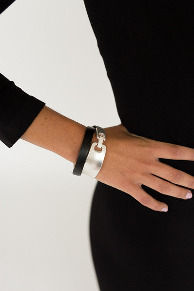 Wrap Bracelet- Black and Silver - J&J Petite Boutique - 1