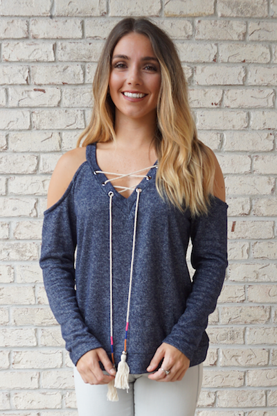 Brooklyn Cold Shoulder Tassel Top - Navy
