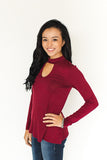 Elliot Keyhole Top - Wine - J&J Petite Boutique - 1