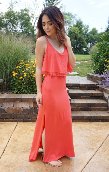 The Heather Maxi Dress - Coral - Standard Length