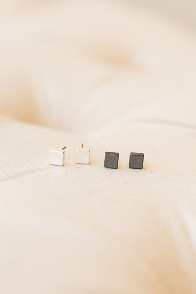 Gun Metal Black Cube Stud Earrings - J&J Petite Boutique - 2