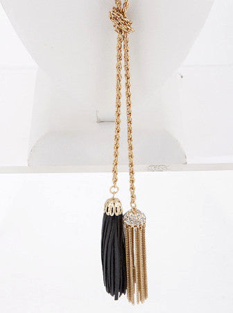 Tassel Necklace & Matching Earrings - Gold and Black - J&J Petite Boutique - 4