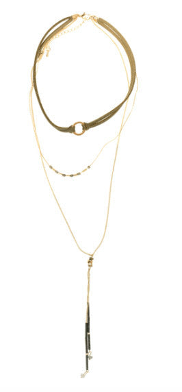 Leather Cord Chocker with Chain Layers Necklace - J&J Petite Boutique - 3