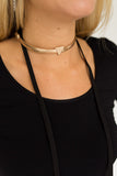 Metal Choker Gold - Black Suede Lariat - J&J Petite Boutique - 3