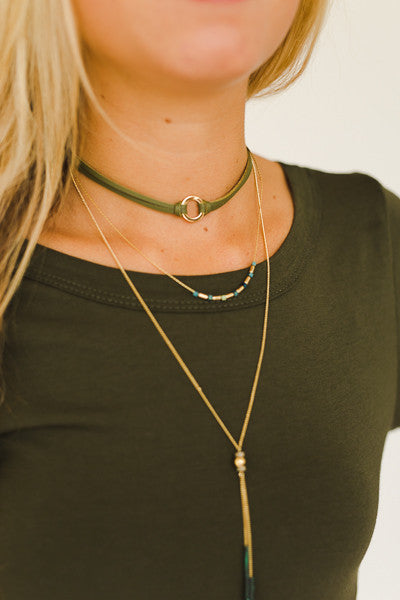 Leather Cord Chocker with Chain Layers Necklace - J&J Petite Boutique - 2