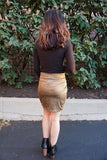 Lianna Suede Knot Front Skirt - Olive