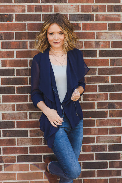 RESTOCK - Lily Top/Jacket - Navy - J&J Petite Boutique - 4