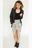 Haley Skirt - Cream with Black Stripes
