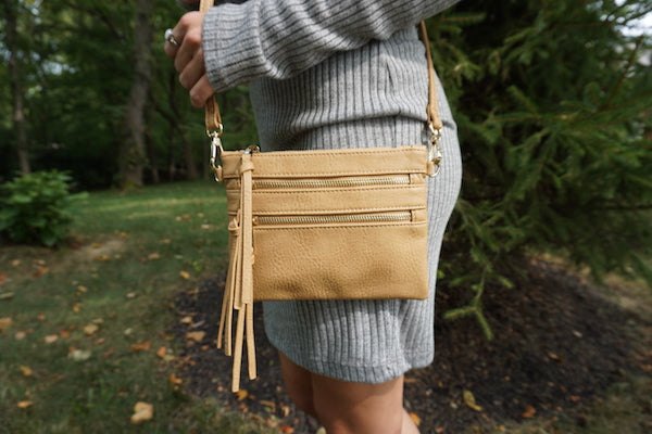 Shiloh Zipper Crossbody Clutch - Tan