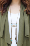 Double Tassel Turquoise Accent Ladder Necklace