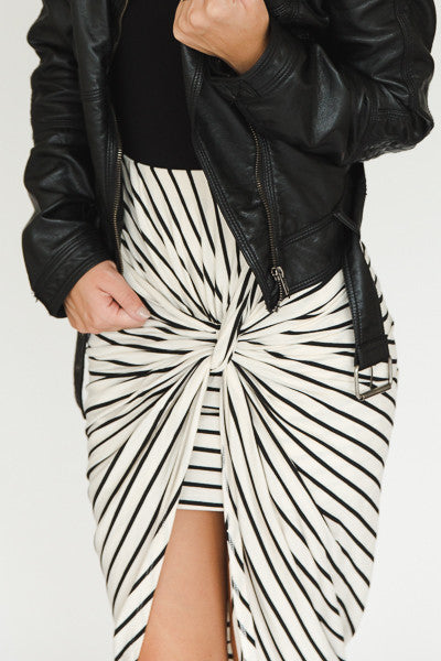 Haley Skirt - Cream with Black Stripes - J&J Petite Boutique - 2