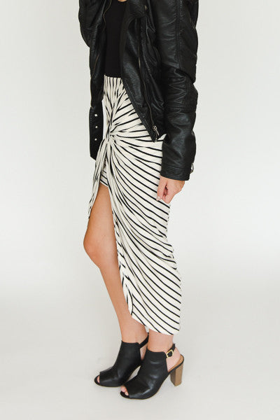 Haley Skirt - Cream with Black Stripes - J&J Petite Boutique - 1