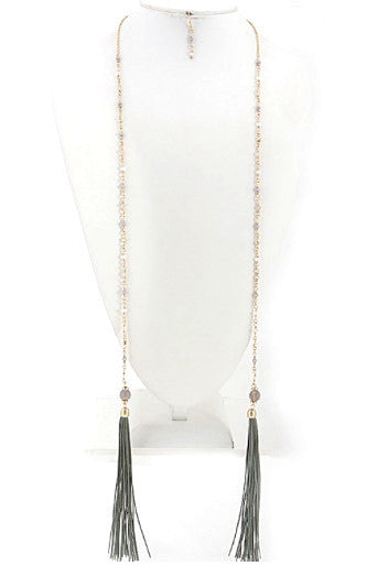 Tassel Necklace - Gold and Green Tassel - J&J Petite Boutique - 5
