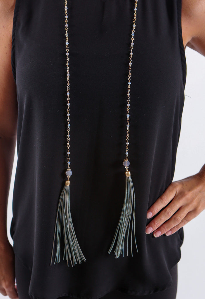 Tassel Necklace - Gold and Green Tassel - J&J Petite Boutique - 3
