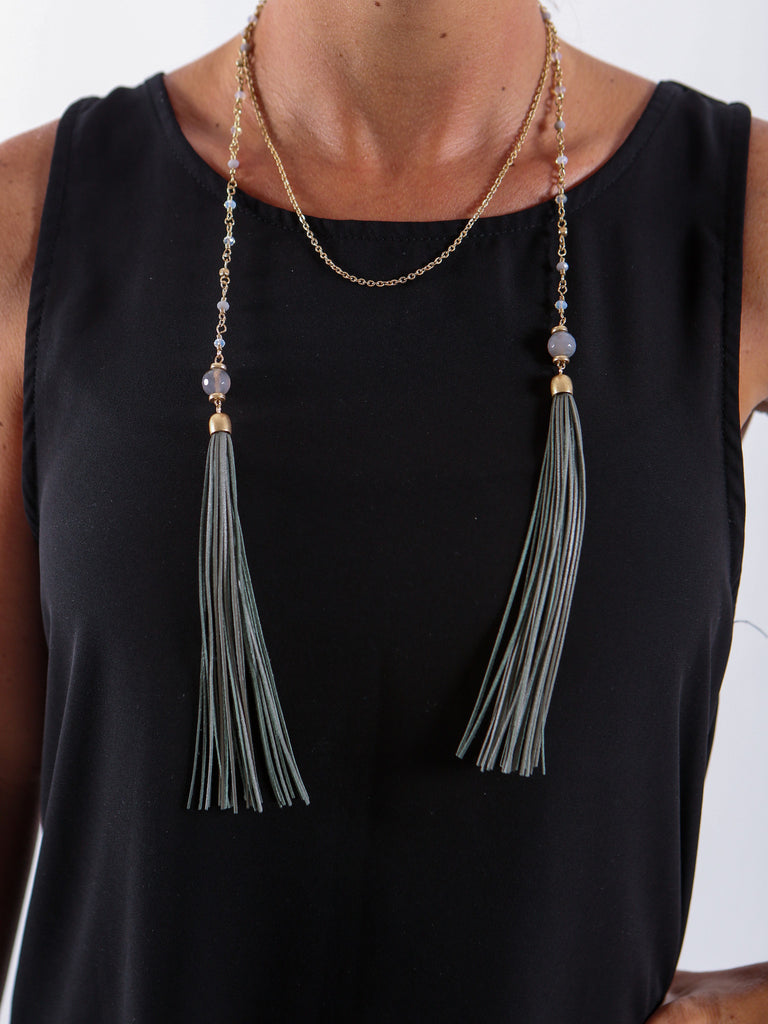 Tassel Necklace - Gold and Green Tassel - J&J Petite Boutique - 2