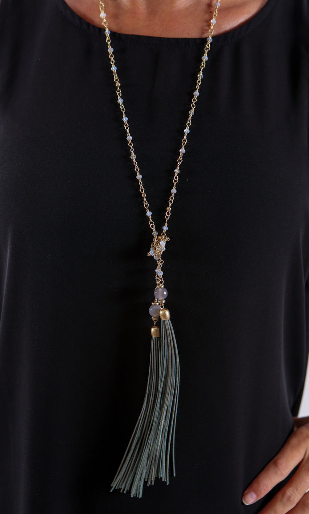 Tassel Necklace - Gold and Green Tassel - J&J Petite Boutique - 1