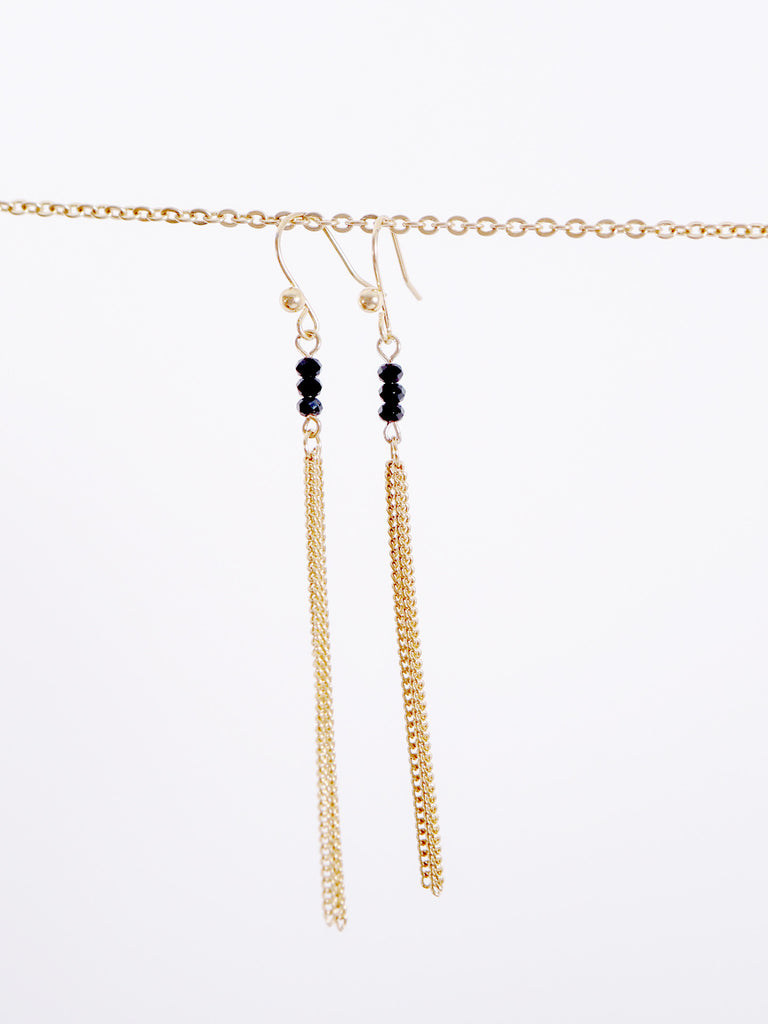 Tassel Necklace & Matching Earrings - Gold and Black - J&J Petite Boutique - 5