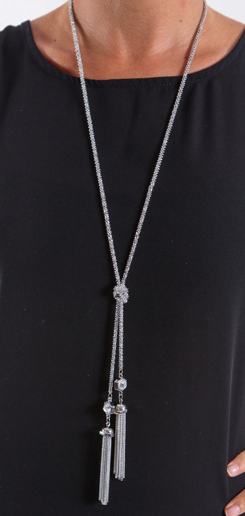 Silver Tassel Necklace with Clear Crystal - J&J Petite Boutique
