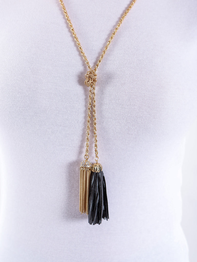 Tassel Necklace & Matching Earrings - Gold and Black - J&J Petite Boutique - 2