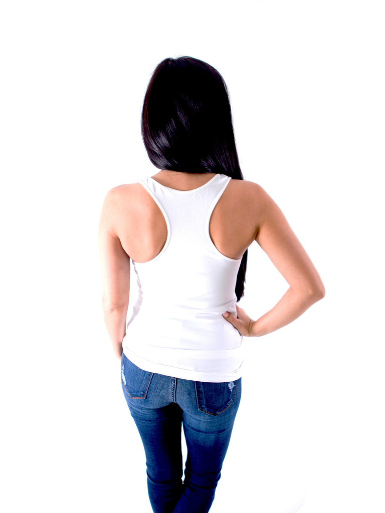 Slimming Racer Back Tank Top - White - J&J Petite Boutique - 3