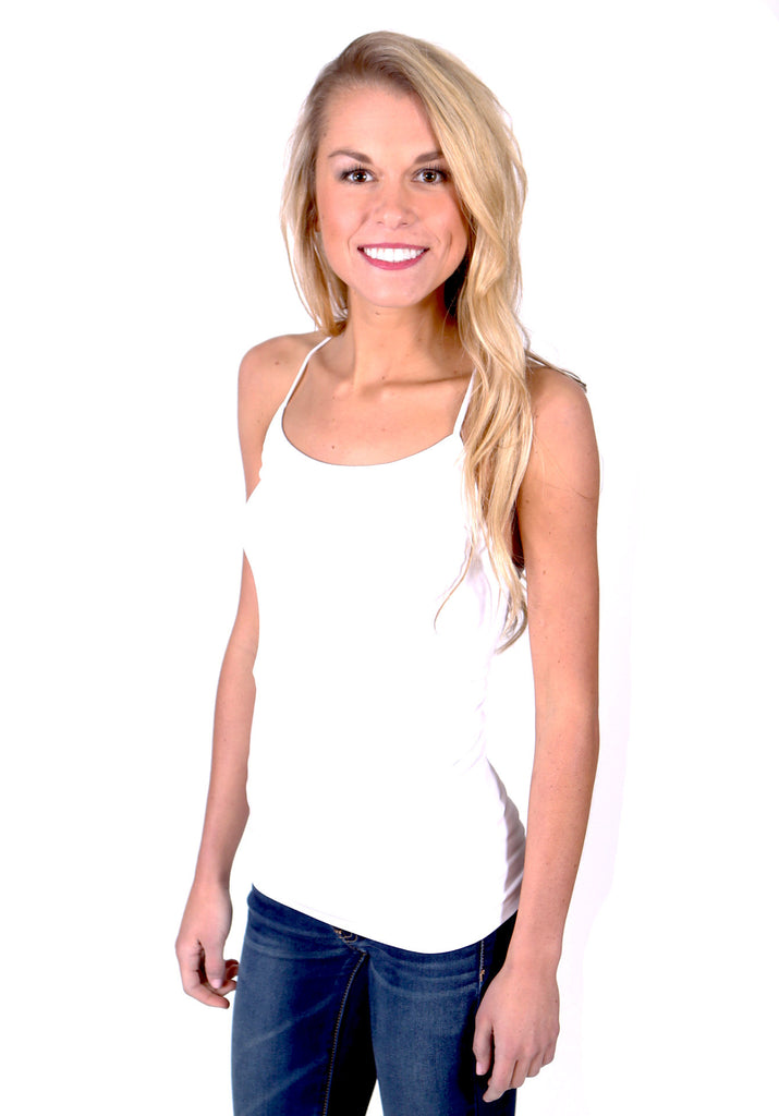 Slimming Y-Strap Seamless Tank Top - White - J&J Petite Boutique - 3