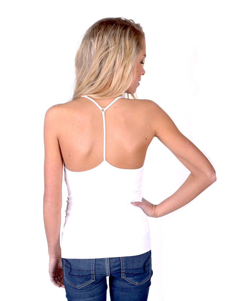 Slimming Y-Strap Seamless Tank Top - White - J&J Petite Boutique - 1