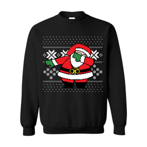 Classic Dabbing White Santa Ugly Christmas Black Sweater