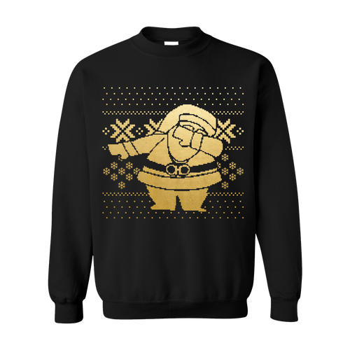Gold Dipped Dabbing Santa Black Sweater