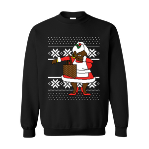 Classic Dabbing Black Mrs Claus Ugly Black Sweater