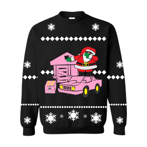 Dabbing Santa Traphouse Crewneck Sweater [Black]