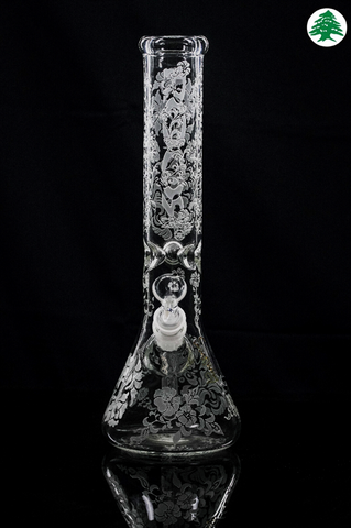 "ROOR® Tech 14"" 5mm Sandblasted Floral, Water Pipes, RooR, Cedar Smoke"