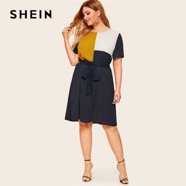 94d456f401 SHEIN Plus Size Waist Belted Color Block Dress Women Summer Tunic Shor –  Merkato.com.au