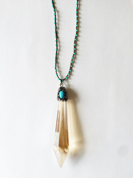 Crystal Pendant & Turquoise Necklace