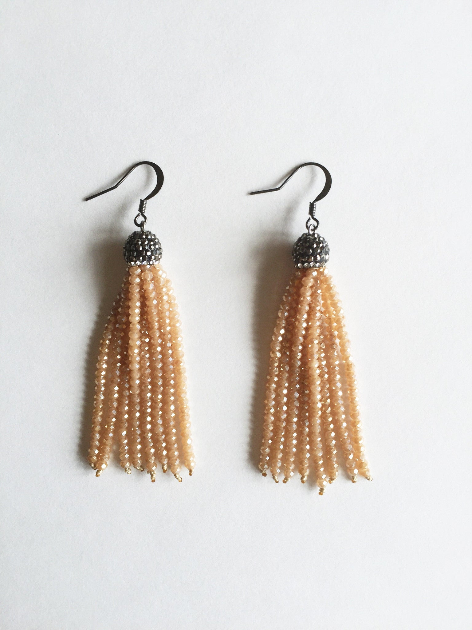 Nude Beaded Tassel Earrings