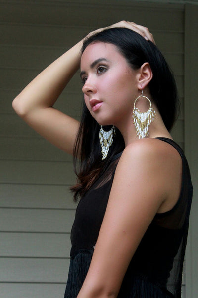 White & Gold Beaded Festival Earrings