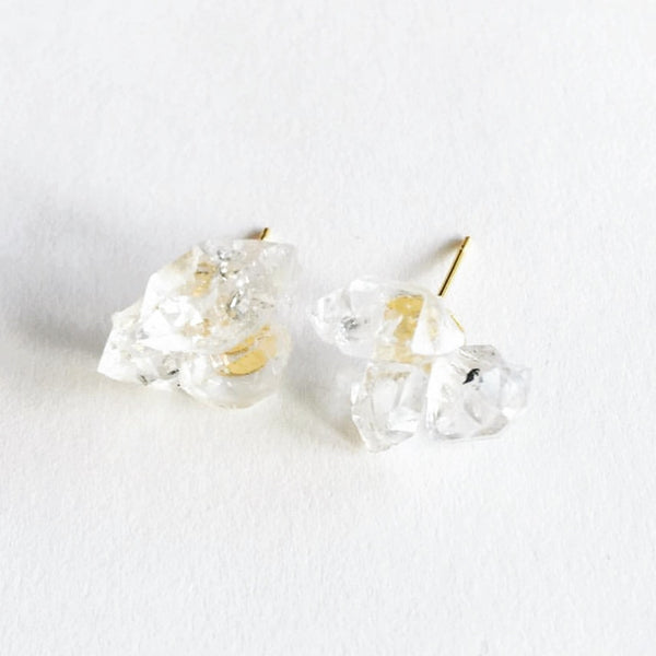 Brazilian Quartz Crystal Cluster Earrings