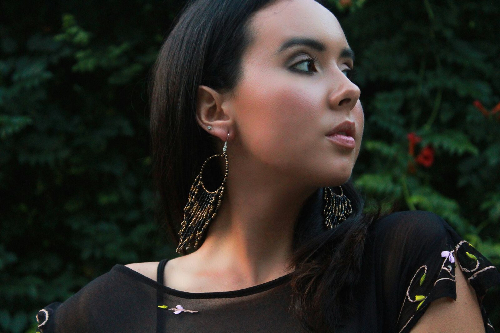 Black & Gold Beaded Fringe Earrings