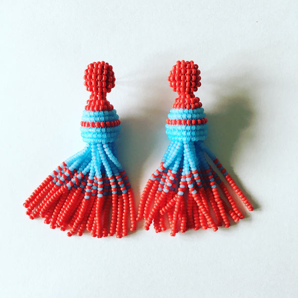 Cavalier Red & Turquoise Tassels