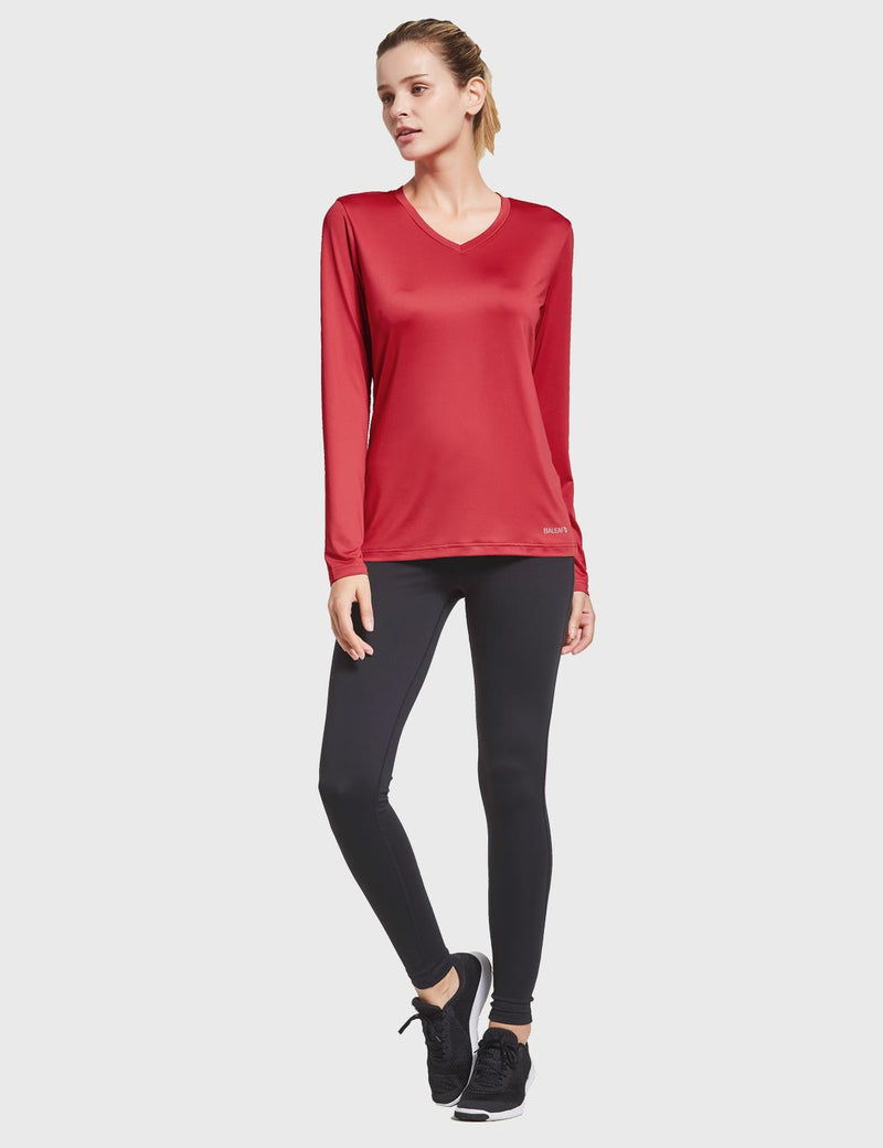 Baleaf Womens Loose Fit V-Neck Tag-free Long Sleeved Shirt Red Full